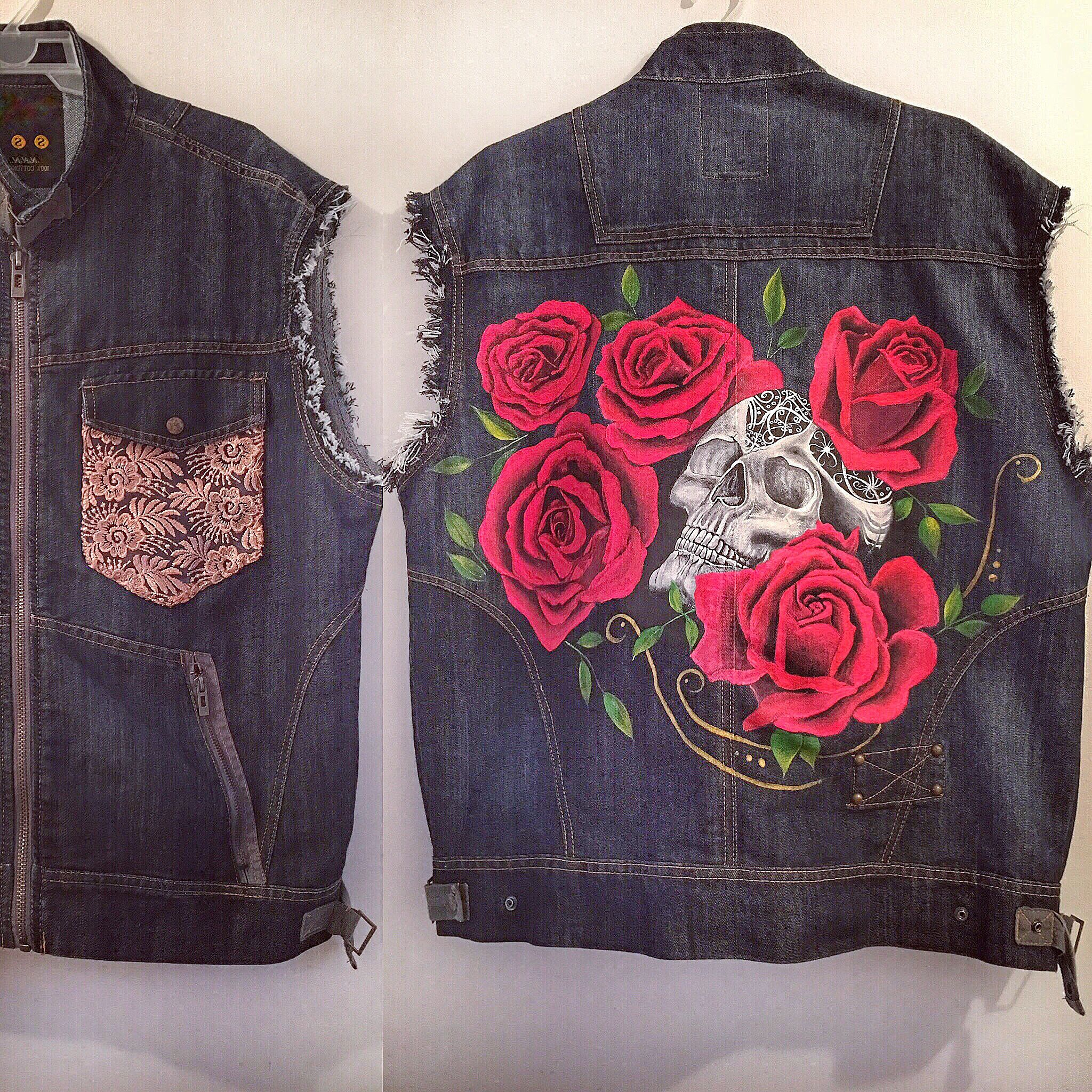 Hand Painted Custom Denim Vest Rose Skull Custom Denim Jacket Custom Denim Painted Clothes [ 2048 x 2048 Pixel ]