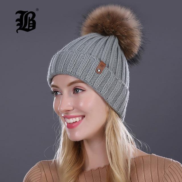 FLB  Wholesale Mink And Fox Fur Ball Cap Pom Poms Winter Hat For Women c7ad3153cc49