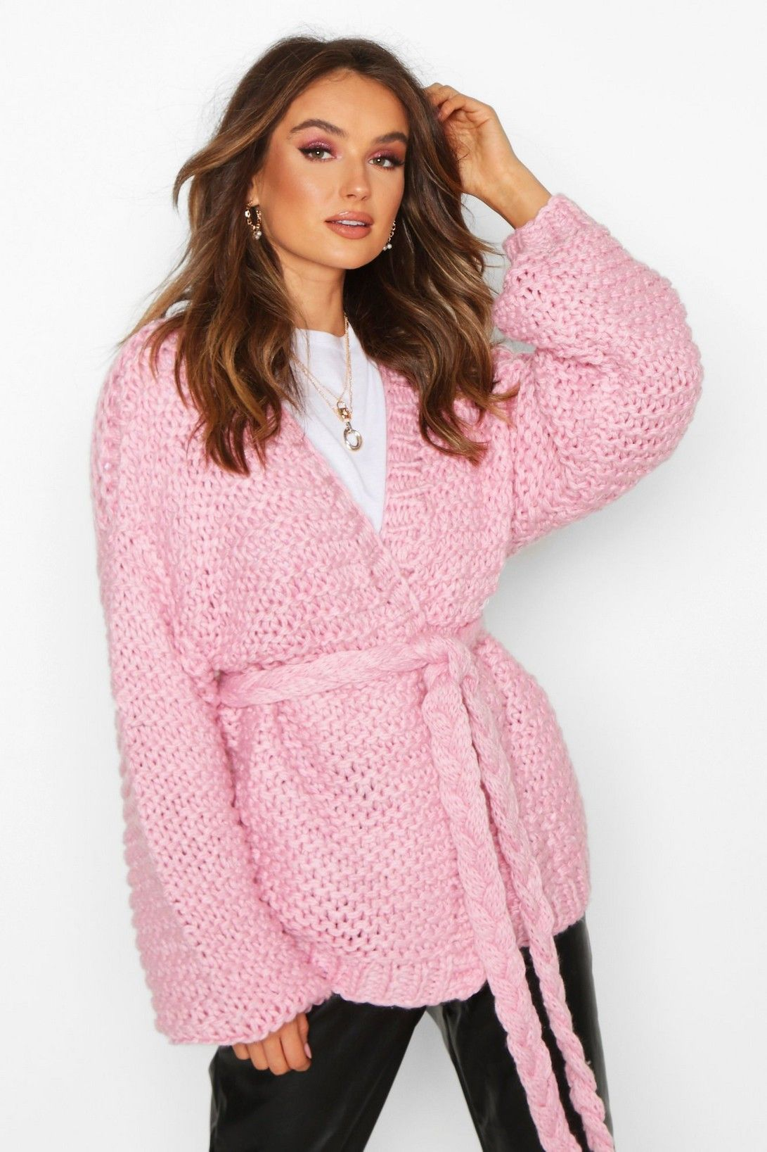 Premium Hand Knitted Belted Cardigan | Boohoo UK | Belted