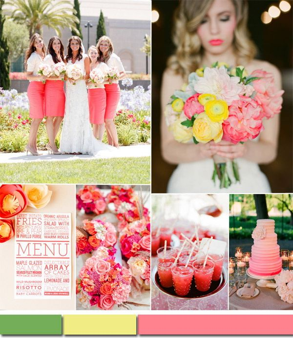 Watermelon Pink White And Yellow Spring Summer Wedding Color Ideas