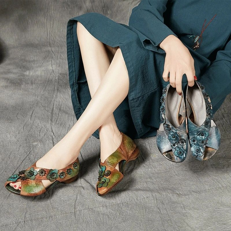 Retro Ladies Sandals - Genuine Leather Flats With Flower Embellishment – A Lark And A Lady #AddictedToShoes #HandmadeShoes