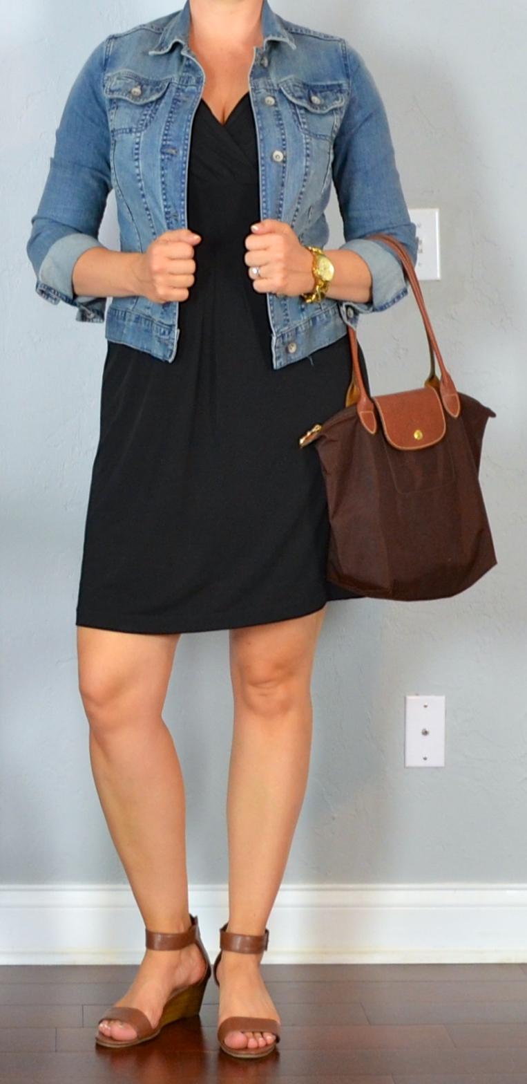 Outfit Post Little Black Dress Jean Jacket Brown Wedge Sandals Brown Wedges Outfit Wedges Outfit Dress With Jean Jacket [ 1568 x 763 Pixel ]