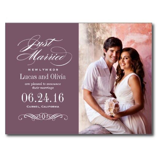 Just Married Wedding Announcements Dusty Plum Pinterest Plum