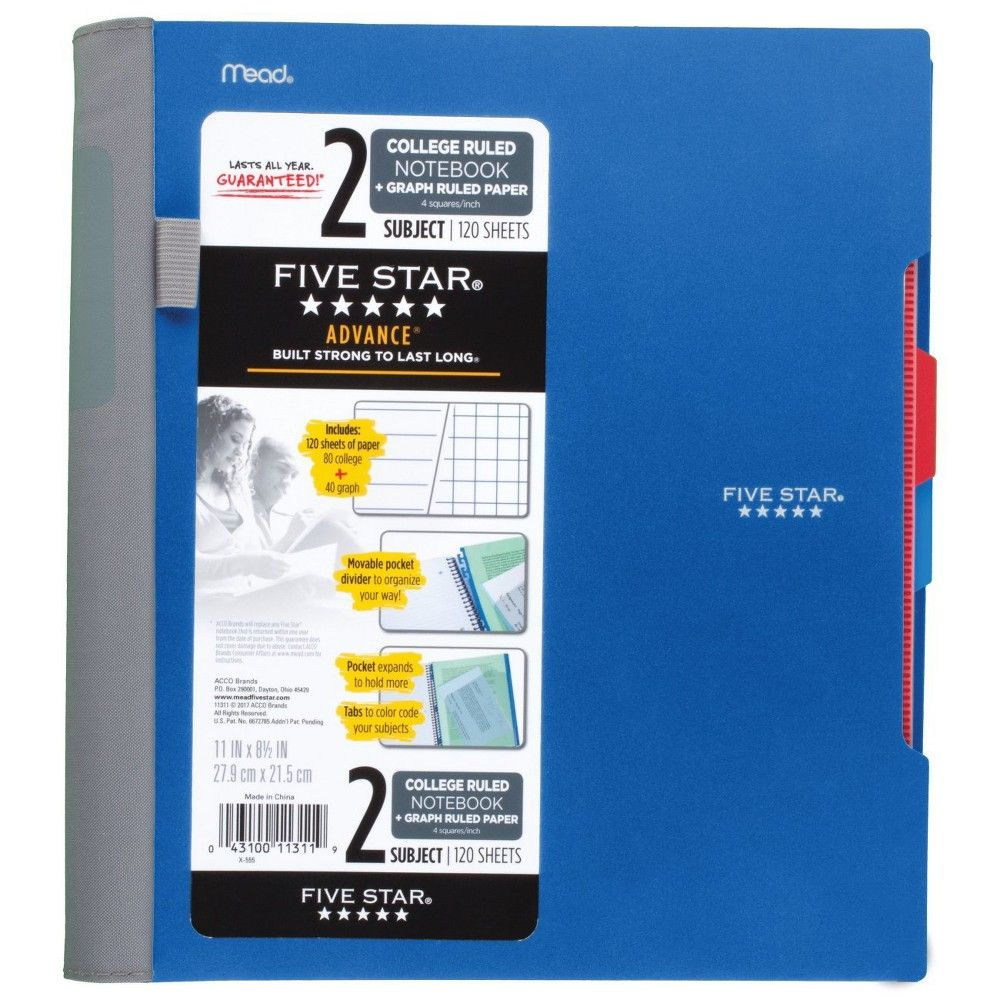 f9bd59823d42 Five Star Advance Spiral Notebook 2 Subject College/Quad Ruled ...