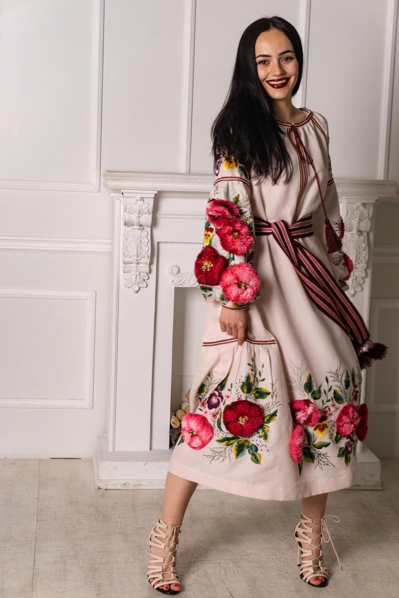 Linen Dress Melody Of Flowers Is A Hand Embroidered And Completely Unusual Dress This Loose Fit Dress Unusual Dresses Embroidered Dress Loose Fitting Dresses [ 1191 x 794 Pixel ]