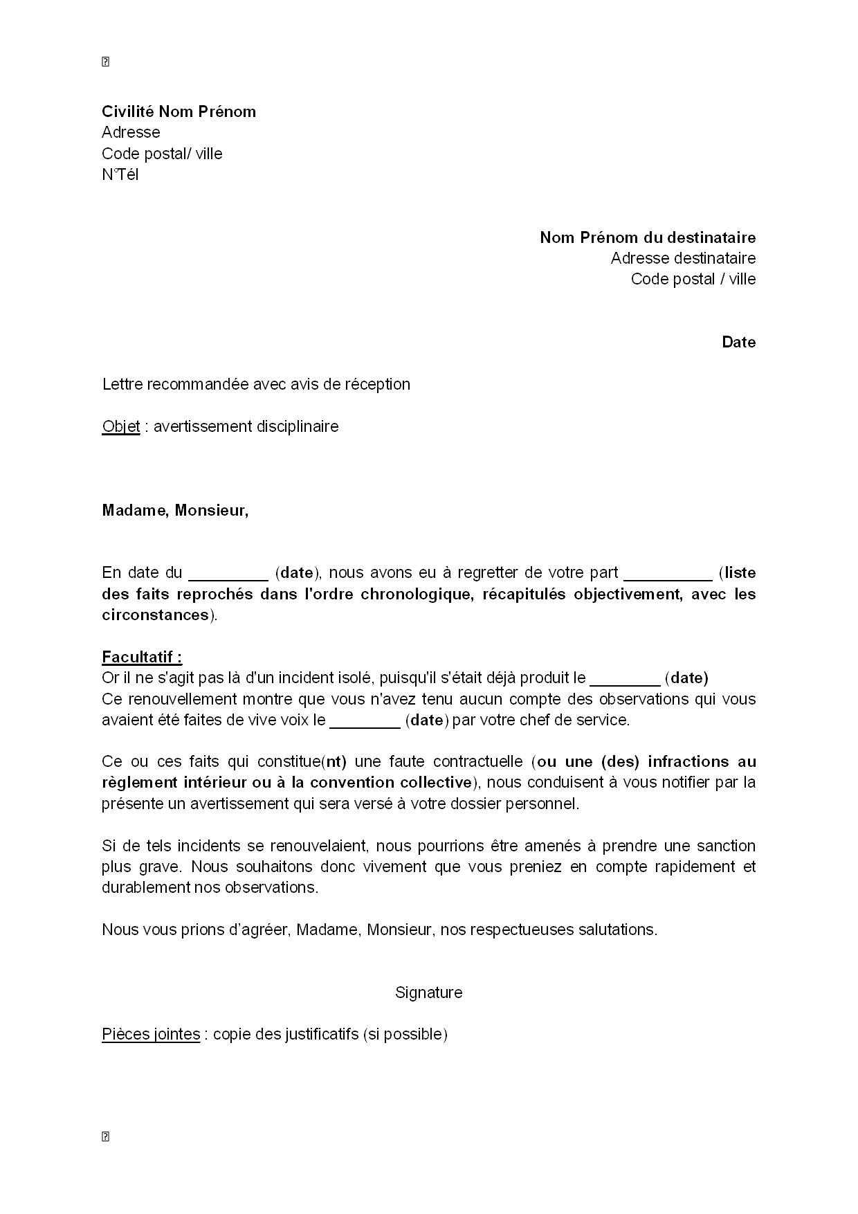 lettre d u0026 39 avertissement disciplinaire au salari u00e9