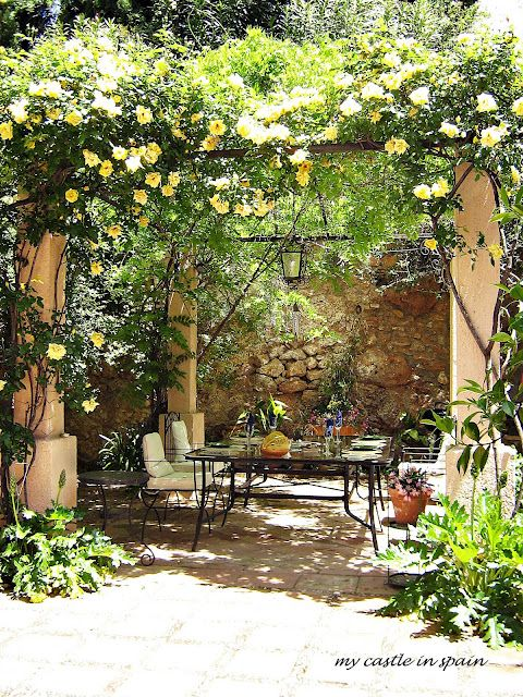 Spanish Garden Patio With Climbing Yellow Roses / My Castle In Spain