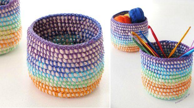 Mini Crochet Basket Rainbow Pattern Pinterest Crochet Patterns