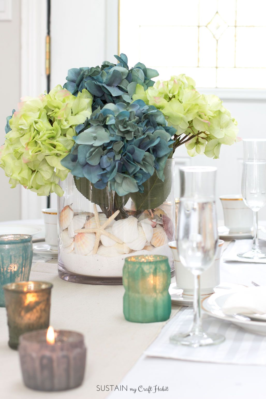 Simple diy beach theme centerpiece