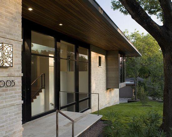 Modern Exterior Trim i like the dark trim with the light brick/stone small ranch