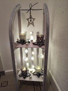 Adventskranz mal anders!Weihnachten Deko Schlittenregal Schlitten #fensterdekoweihnachten