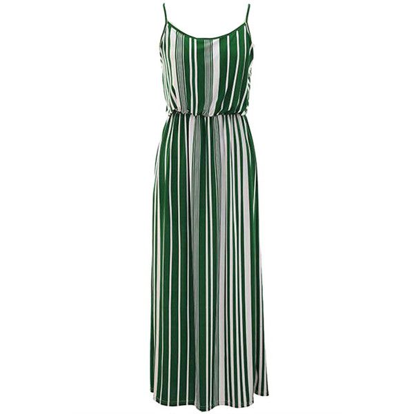 Green White Vertical Striped Long Maxi Dress With Spaghetti Straps Black And White Long Dresses Black And White Summer Dresses Long Maxi Dress
