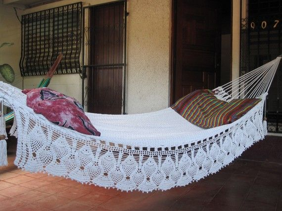 Beige Double Hammock hand woven Natural Cotton with Bell