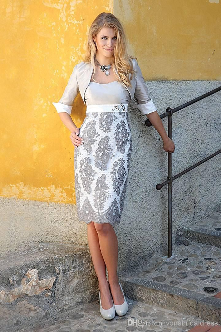 2014 Gray Lace Silver Jacket Suit Mother of the Bride Dresses Short ...