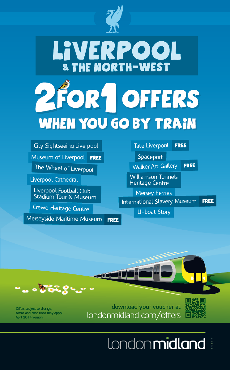 2 for 1 offers in Liverpool when you go by train