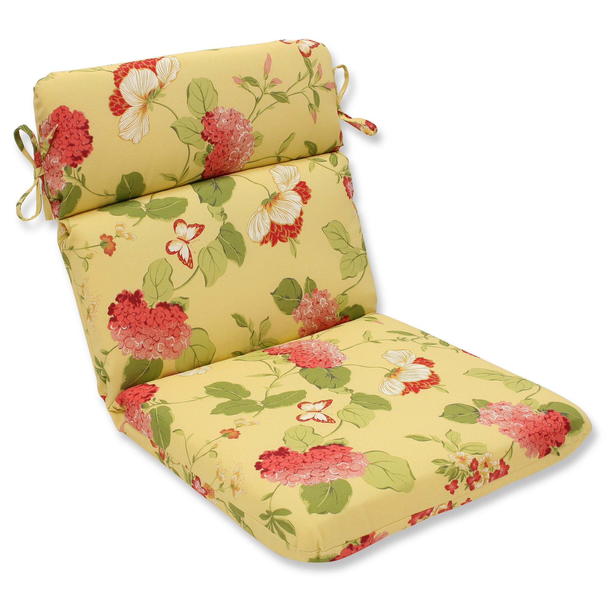Outdoor Rounded Chair Cushion Yellow/Red Floral Indoor