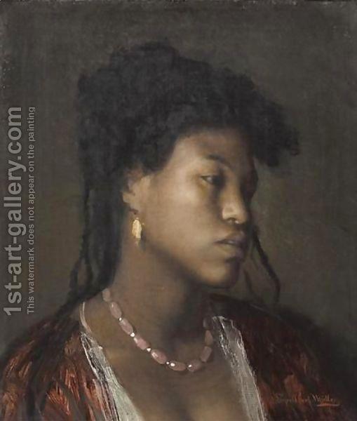 Buste De Jeune Femme Au Collier Rose by Leopold Carl Muller