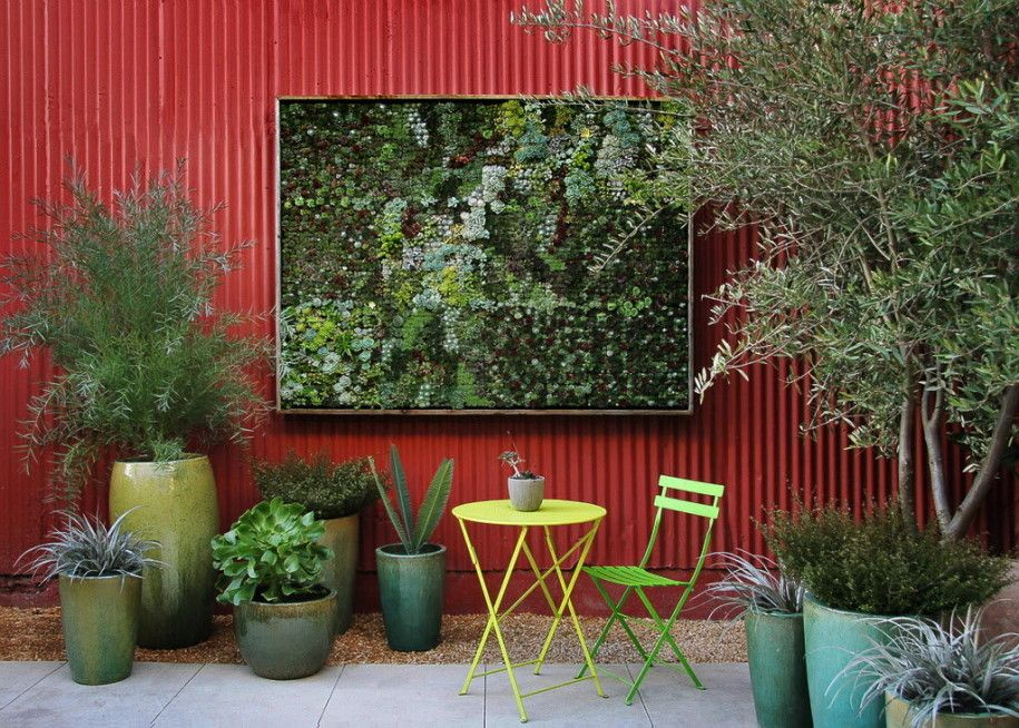 awesome nice adorable cool wonderful outdoor fence decoration with with red coloring concept design with green - Outdoor Wall Designs