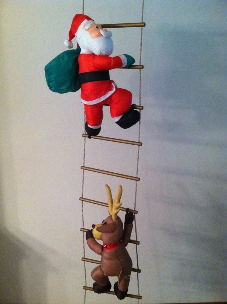 Santa Reindeer Elf Snowman Climbing 9 Ft. Ladder Christmas ...