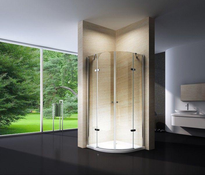 Duschkabine Viertelkreis Nano Echtglas EX406 90 x 90 x