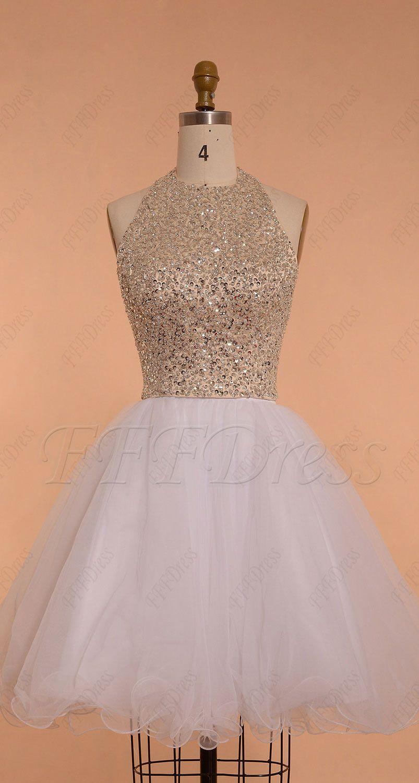 Halter beaded sparkle short prom dresses backless white prom dresses short homecoming dresses