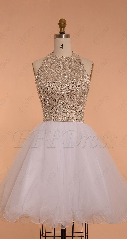 Halter backless beaded crystal white short prom dress homecoming