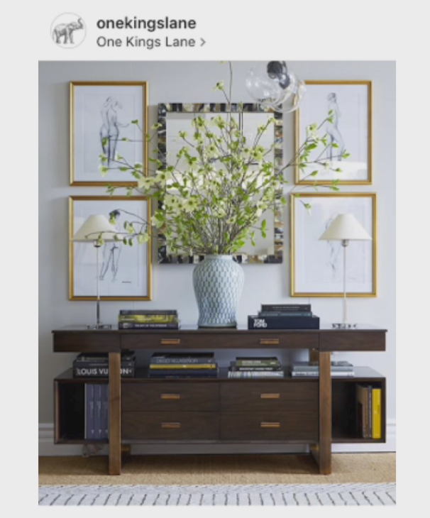 Scale - making a statement. It is also a fun principle to break. Large scale light fixture or a large painting, you can see in this photo that the scale overall is spot on as is the balance, but the vase and flowers are slightly over-scaled for something that is sitting ontop of the console, but it looks great and makes a statement.