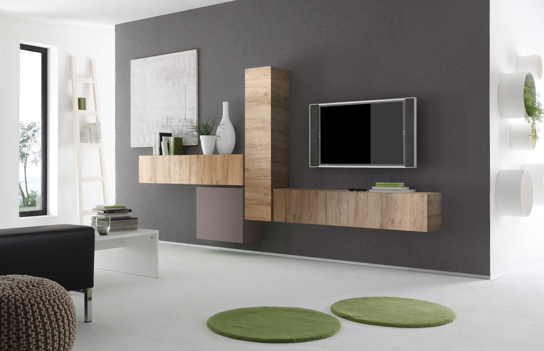 Wohnwand Eiche Natur Beige Matt Italien Cubilo26 Designermöbel