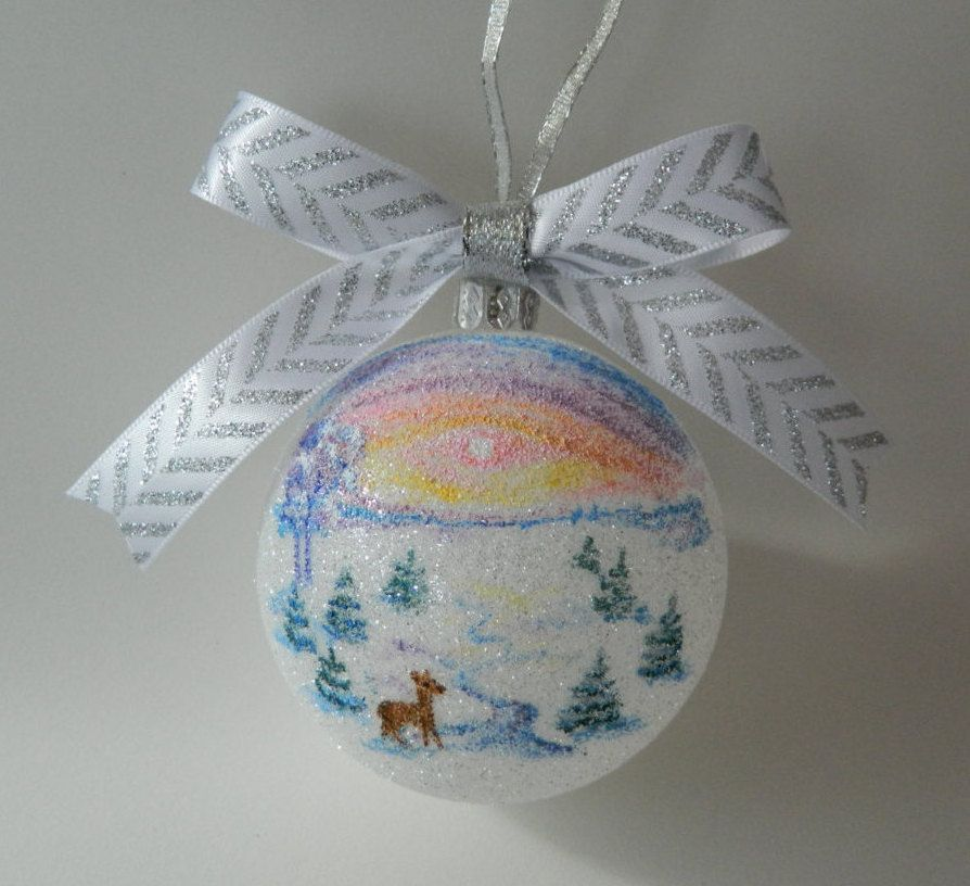 Handpainted Winter Scene Christmas Ornament by ElenaPaintings1