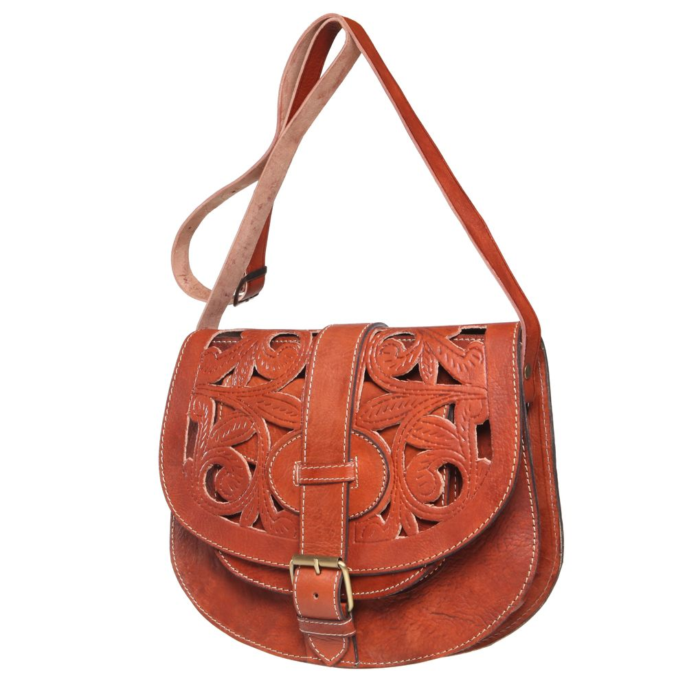 f8cf665540 Large Tan Henna Cut Leather Saddle Bag (Morocco) - Overstock™ Shopping -  Top Rated Leather Bags