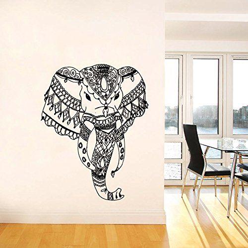 Simple Wandtattoo Elefanten Indischer Elefant mit Blumenmuster Mandala Ganesh Wandaufkleber Yoga Namaste Schlafzimmer Vinyl Wanddeko Wandtattoo Fototapete
