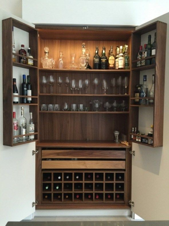 Neil norton design solid walnut bespoke drinks cabinet for Built in drinks cabinet