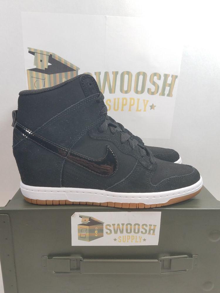 d78c76a6b6a453 Womens Nike Dunk Sky Hi Essential Black Gum Brown Wedges High SZ 7.5  644877-011  Nike  FashionSneakers