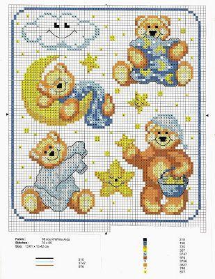 schemi a punto croce gratuiti per tutti raccolta di schemi con orsetti per biancheria neon