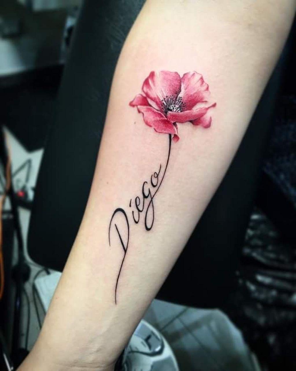 Flower Name Tattoo : flower, tattoo, Beautiful, Poppy, Tattoo, Ideas, Women, Tattoos, Daughters,, Tattoos,, Poppies