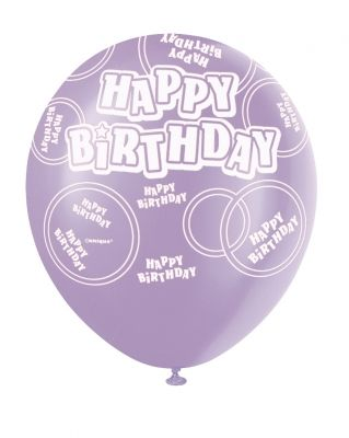 Dusty Lavender Printed Happy Birthday Balloon