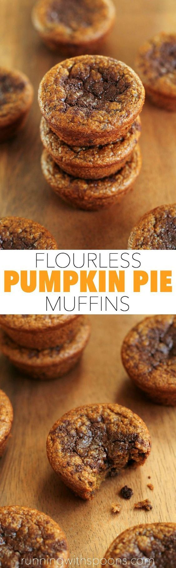 Flourless Pumpkin Pie Muffins -- you won't miss the flour, oil, or sugar in these soft and tender muffins! || runningwithspoons... #glutenfree #pumpkin #muffins