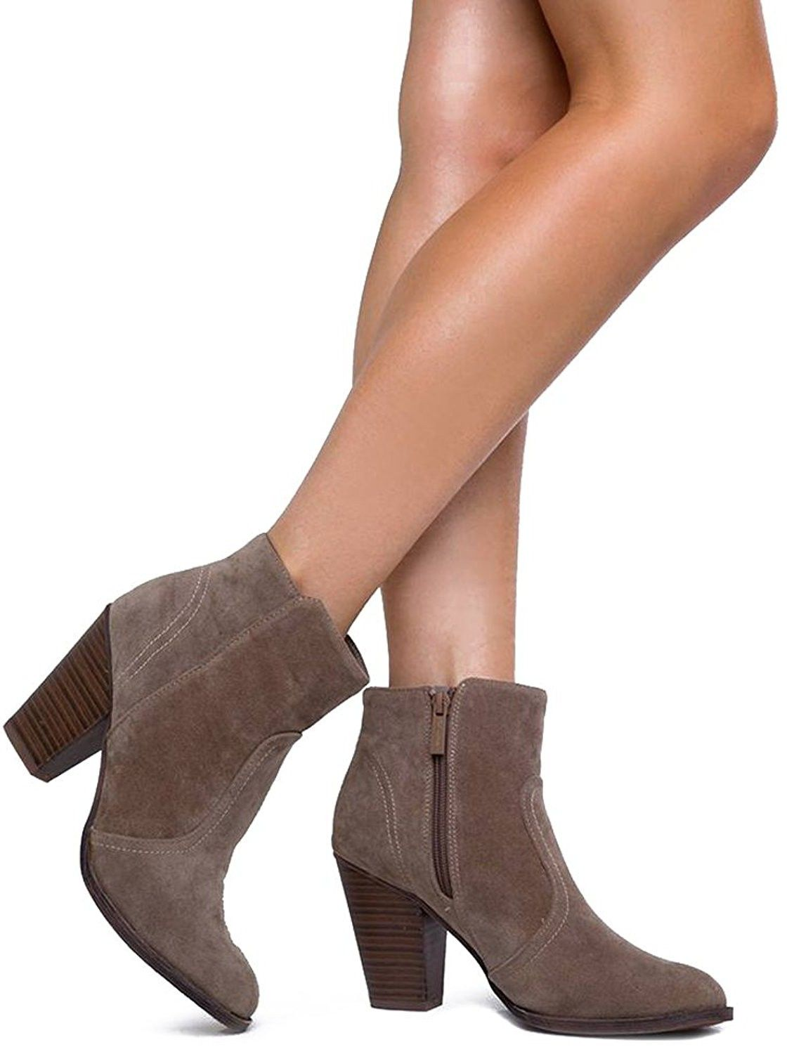 c423a622f9f0f Breckelles Women's HEATHER-34 Faux Suede Chunky Heel Ankle Booties<3 ...