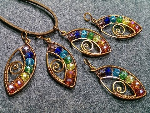 eye pendant with stones rainbow colors- How to make wire jewelery 164