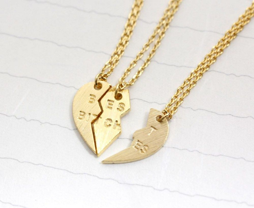 Best bitches heart necklace set of colors gold silver rose
