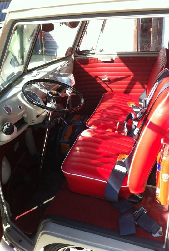 red seats in cream cab