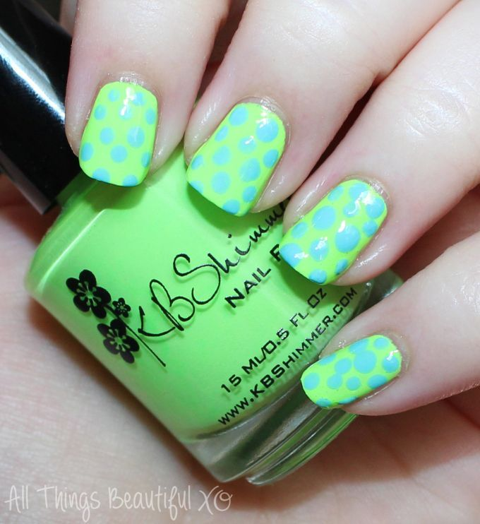 Blue & Green Neon Summer Nail Art Dots with KBShimmer in Yacht Water ...