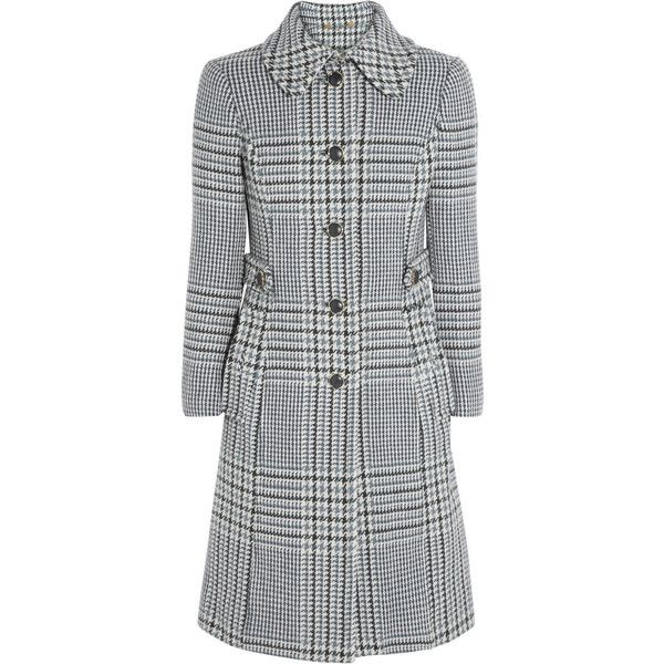 Tory Burch Virginia houndstooth wool-blend coat found on Polyvore