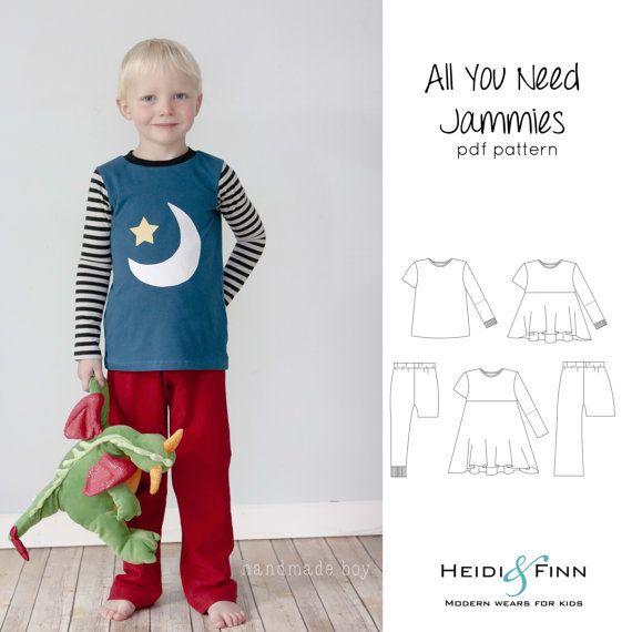 All you Need Jammies pajamas pdf pattern 6-12y EASY SEW leggings tee ...