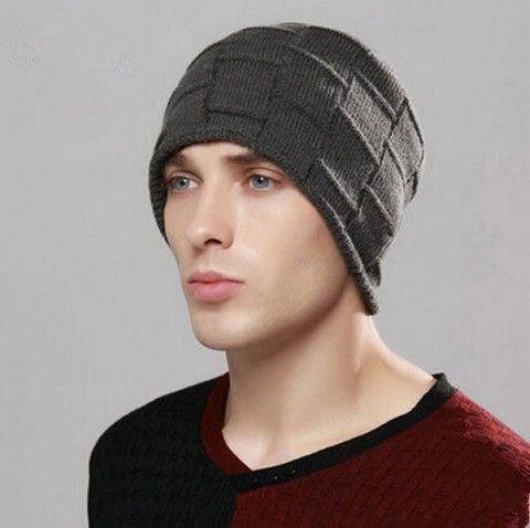 db72fe660e6 Mens beanie hat plaid patterns fleece knit winter hats outdoor wear ...