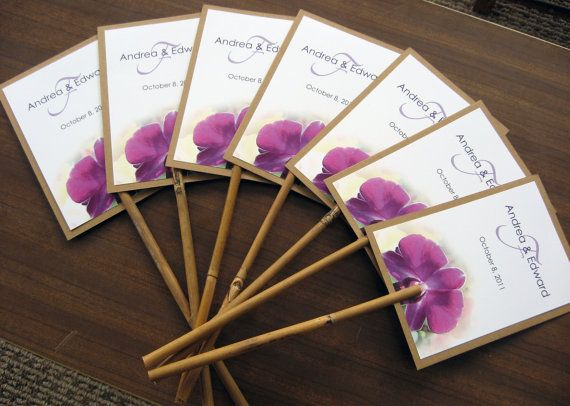 Hawaiian Tropical Purple Orchid Beach Wedding Program Fan Natural Bamboo Stick Handle