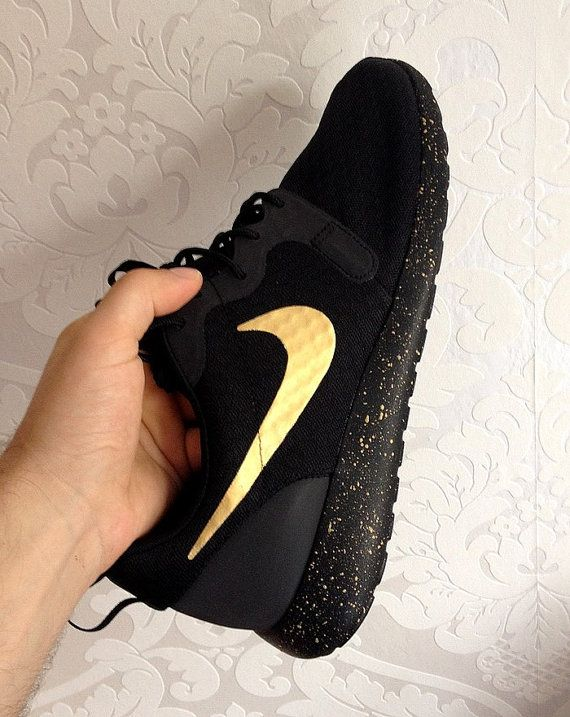 4433605476c9 Nike Roshe Run Black with Custom Gold Swoosh and by DenisCustoms. Hey ...