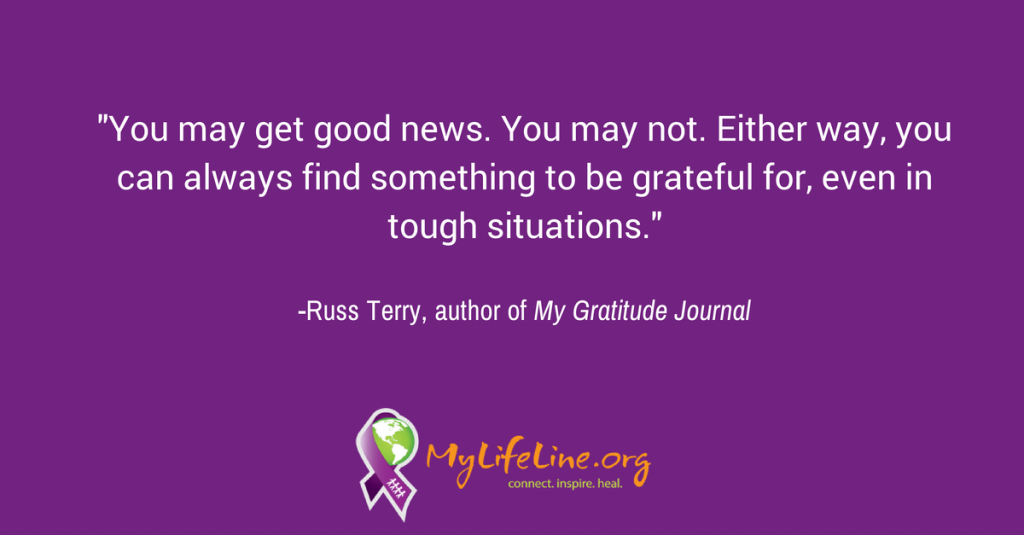 Post about leaning into gratitude and dealing with a loved one's cancer diagnosis.