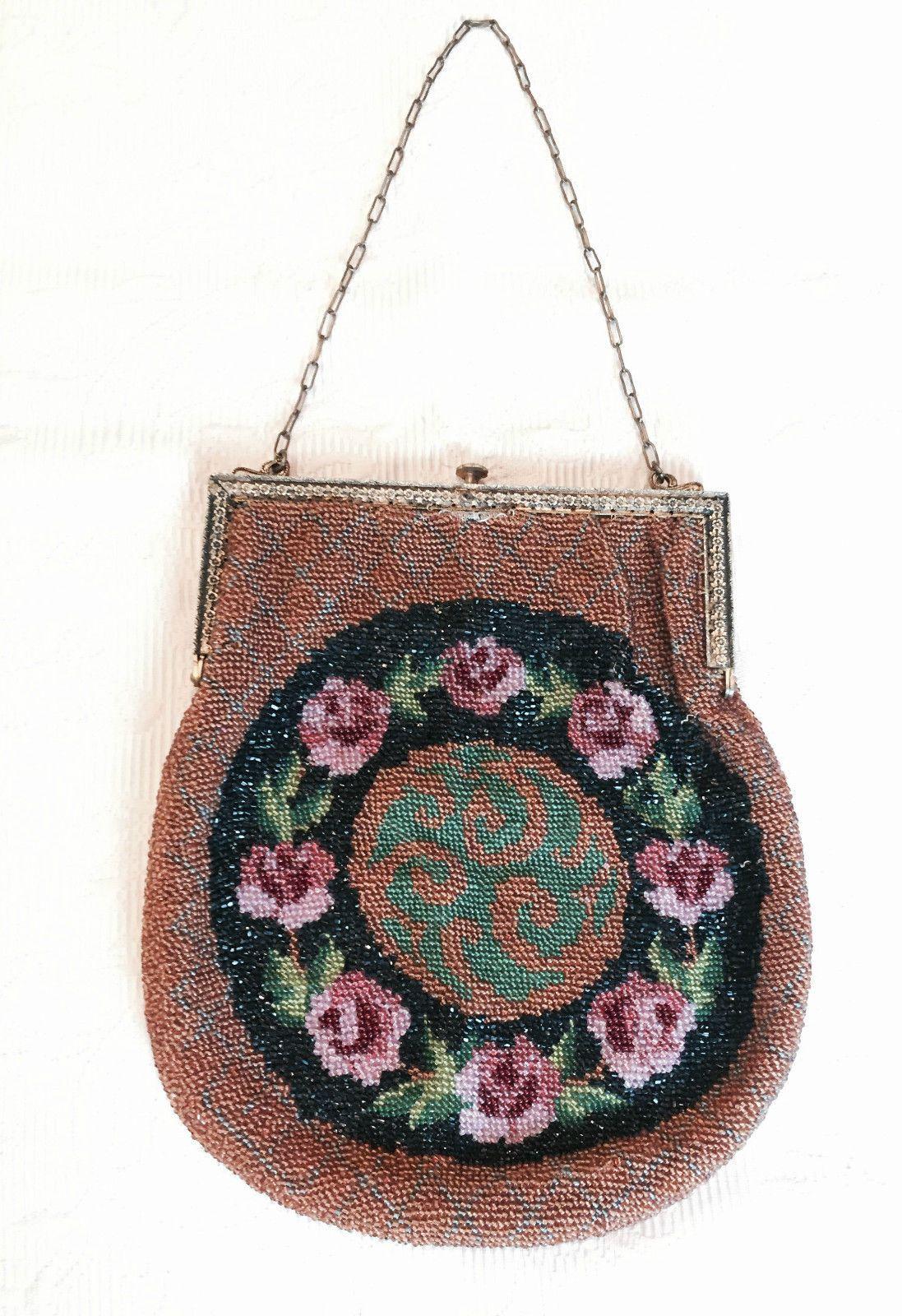 Antique Beaded Geometric Fl Purse Bag Handbag Ebay