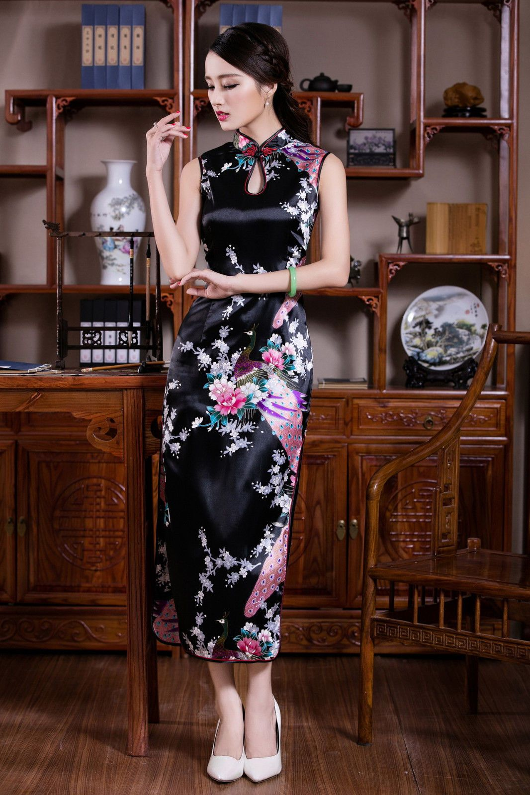 Chinese Sleeveless Women S Silk Satin Long Dress Cheong Sam Black Sz S 2xl Asian Style Dress Evening Dress Sleeveless Cheongsam Dress [ 1600 x 1066 Pixel ]
